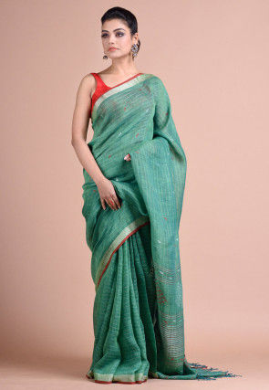 Jamdani Linen Saree in Light Teal Green