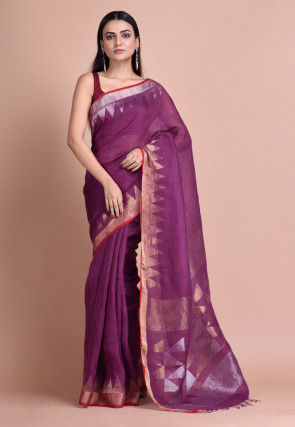 Jamdani Linen Saree in Purple