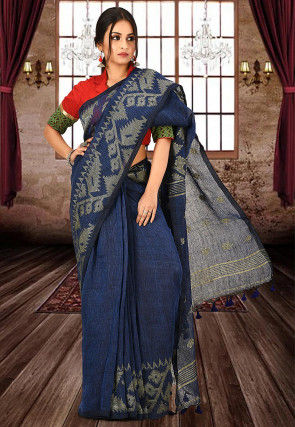 Jamdani Pure Linen Handloom Saree in Navy Blue