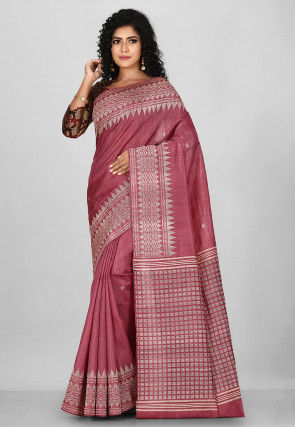 Jamdani Pure Tussar Silk Saree in Old Rose