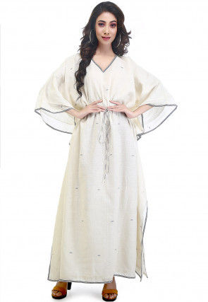 Jamdani Woven Cotton Muslin Kaftan in Cream
