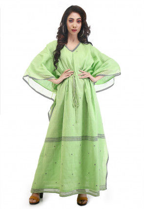 Jamdani Woven Cotton Muslin Kaftan in Light Green