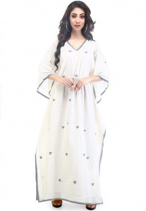 Jamdani Woven Cotton Muslin Kaftan in Off White