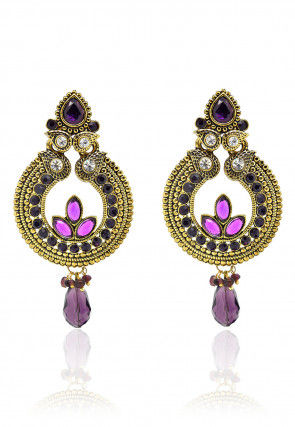 Stone Studded Earring in Purple and Golden