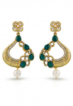Stone Studded Earring in Teal Green