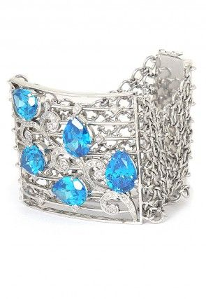 American Diamond Studded Bracelet in White and Blue