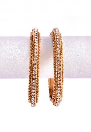 Stone Studded Bangle Pair in Golden and White