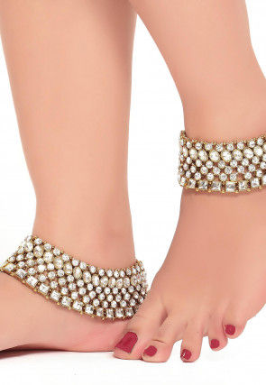 Stone Studded Adjustable Pair of Anklet