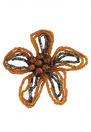 Beaded Brooch in Brown and Black