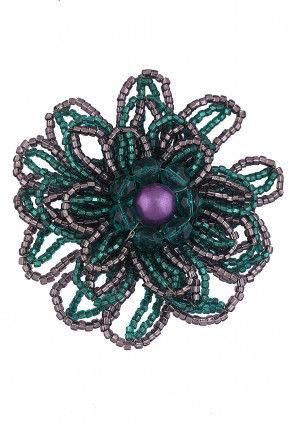 Beaded Brooch in Teal Green and Grey