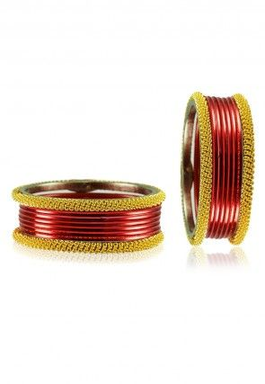 Metallic Bangle Set in Golden and Red