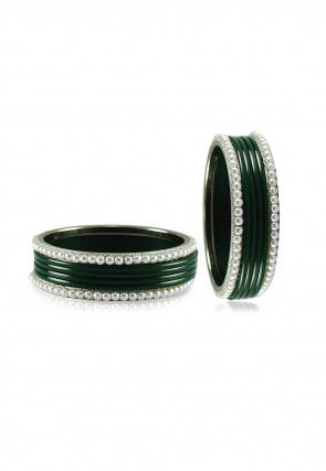 Dark Green and White Artificial Pearl Bangles