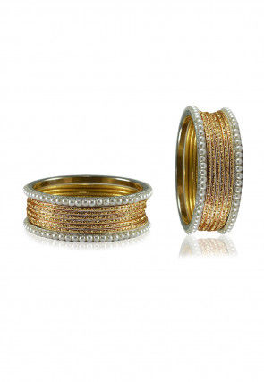 Golden and White Artificial Pearl Bangles