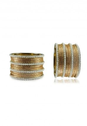 Pearl Bangles Set in Golden and White