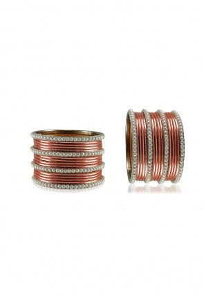 Pearl Bangles Set in Peach and White