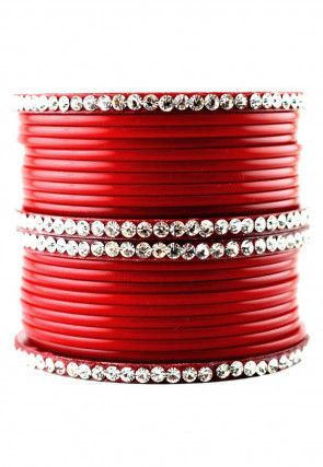 Stone Studded Bangle Set in Red
