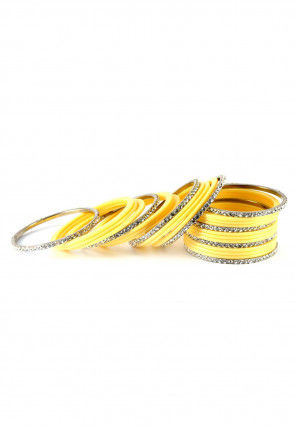 Stone Studded Bangle Set in Yellow
