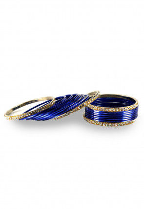 Stone Studded Bangles in Navy Blue and White