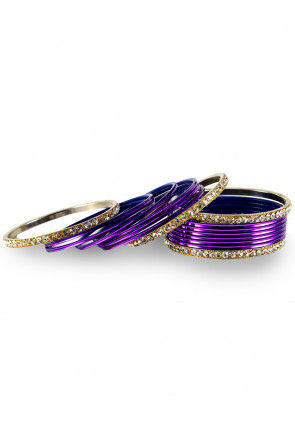 Stone Studded Bangles in Purple and White
