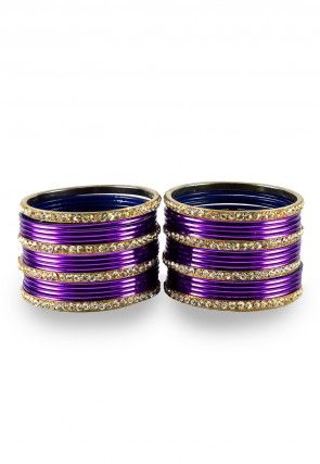 Stone Studded Bangle Set in Violet and White