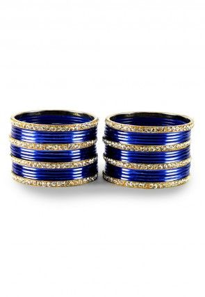 Stone Studded Bangle Set in Royal Blue and White
