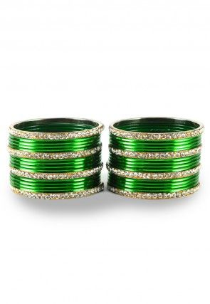 Stone Studded Bangle Set in Green and White