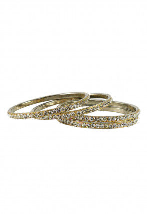 Stone Studded Bangles in Golden and White
