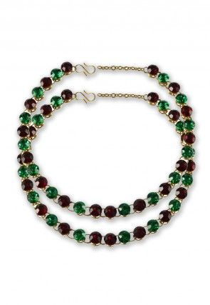 Stone Studded Anklets in Green and Red