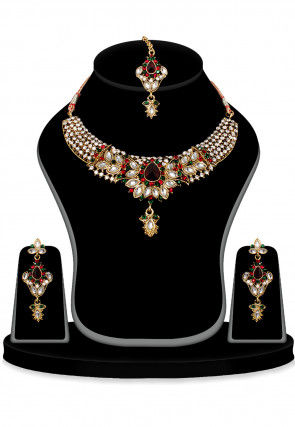 American diamond Necklaces Set in Multicolor