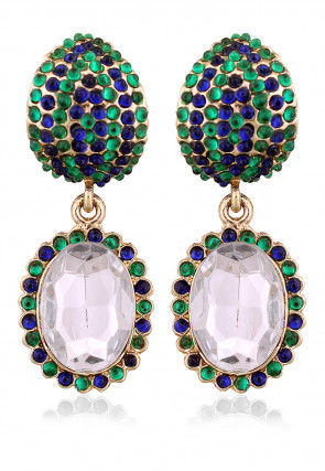 Stone Studded Earring in Blue and Green