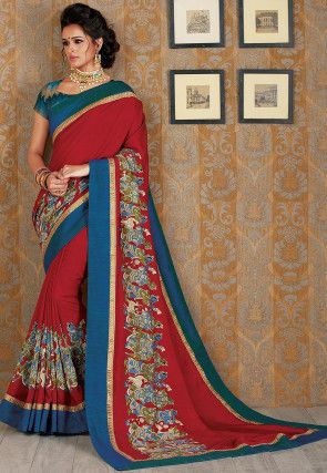 Kalamkari Printed Art Silk Saree in Maroon