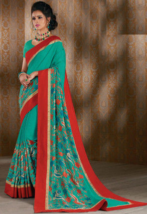 Kalamkari Printed Art Silk Saree in Teal Green