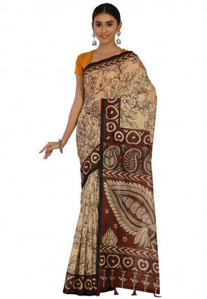 Kalamkari Printed Cotton Chanderi Saree in Cream and Brown
