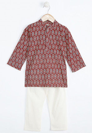 Kalamkari Printed Cotton Kurta Pajama Set in Red