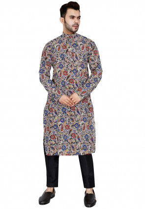 Kalamkari Printed Cotton Kurta Set in Multicolor