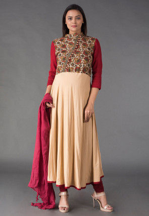 Kalamkari Printed Rayon Anarkali Suit in Beige