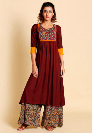 Kalamkari Printed Yoke Cotton A Line Slitted Kurta in Maroon