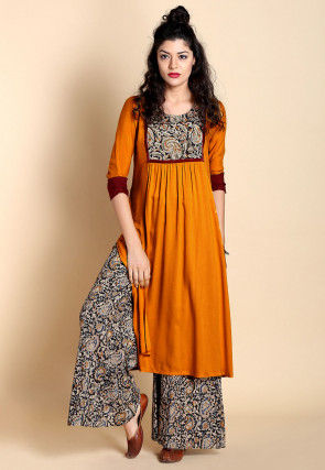 Kalamkari Printed Yoke Cotton A Line Slitted Kurta in Mustard