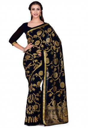Kanchipuram Chiffon Saree in Black