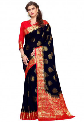 Kanchipuram Chiffon Saree in Dark Blue