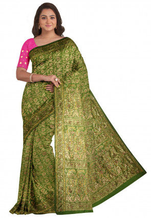 Kanchipuram Embellished Saree in Light Olive Green