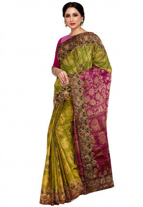 Kanchipuram Embellished Saree in Olive Green