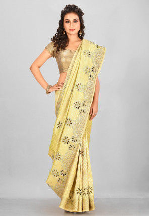 Kanchipuram Hand Embroidered Saree in Beige