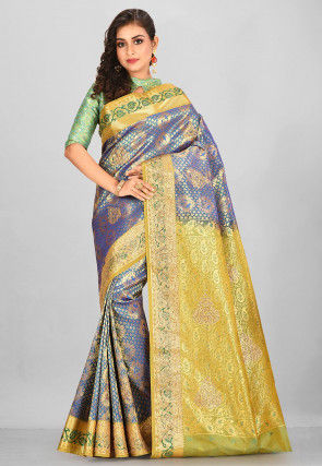 Kanchipuram Hand Embroidered Saree in Blue