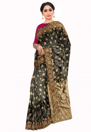 Kanchipuram Hand Embroidered Saree in Charcoal Black