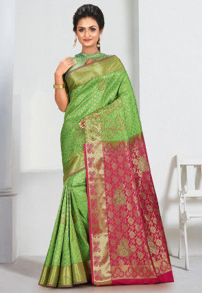 Kanchipuram Hand Embroidered Saree in Green