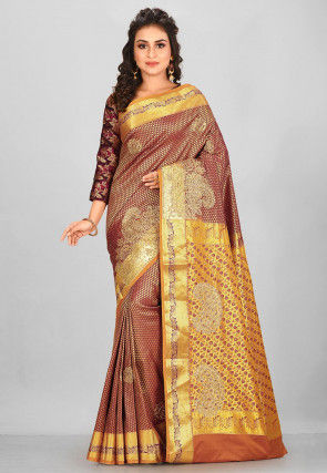 Kanchipuram Hand Embroidered Saree in Marron