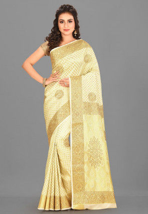 Kanchipuram Hand Embroidered Saree in Off White