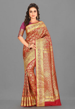 Kanchipuram Hand Embroidered Saree in Red