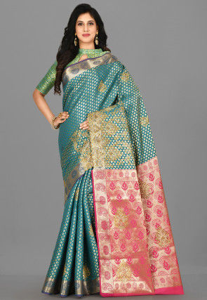 Kanchipuram Hand Embroidered Saree in Teal Blue